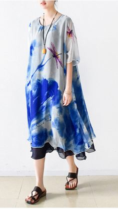 blue print summer maxi dress oversize chiffon sundress casual short sleeve holiday dresses