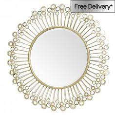 Mirrored Disc Detail Wall Mirror 97 x 97 x 7cm