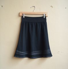 Skirt Black cotton jersey with white Lines- by Out of Line