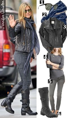 Jennifer Aniston i LOVE this outfit !!! but thats probably because this is what i wear in the cold lol shopping.downjacketshoponline.com $190 #WhatSheWants Do Not Lose The Chance To Own Moncler jacket With A Low Price