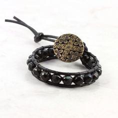 En cuir Wrap Bracelet verre tchèque en cuir noir Winter Fashion Style Bohème Wrap unique Art déco bijoux