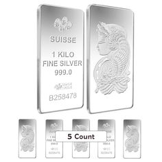 Lot of 5 - 1 kilo PAMP Suisse Lady Fortuna Silver Bar .999 Fine