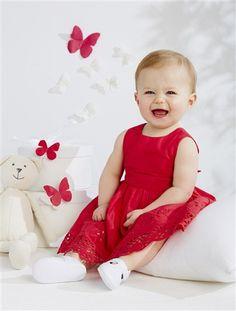 Vestido de cerimónia sem mangas, para bebé menina ROSA MEDIO LISO+BRANCO CLARO LISO