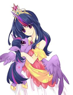Human Princess Twillight holding Alicorn Twilight.