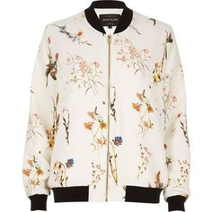 River Island White floral print bomber jacket (190 BRL) ❤ liked on Polyvore featuring outerwear, jackets, bomber jackets, coats, river island, coats / jackets, white, women, white jacket and floral print bomber jacket