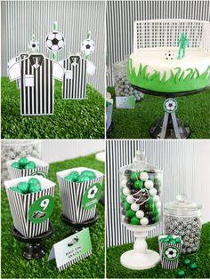 Football or Soccer Birthday Desserts table #soccer #ball #birthday