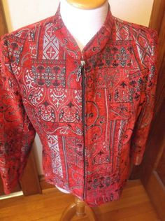 Molly Max Blazer Petite Medium Red Silver Black Zipper Front Tapestry Look #MollyMax #Blazer