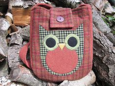 Owl cross body totebag recycled wool by granniesraggedybags, $27.00