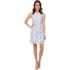 Adrianna Papell Printed Lace Tank Dress Women's Dress, Blue ($60) ❤ liked on Polyvore featuring dresses, blue, white cutout dress, tank top dress, lace dress, lace tank dress e white lace dress