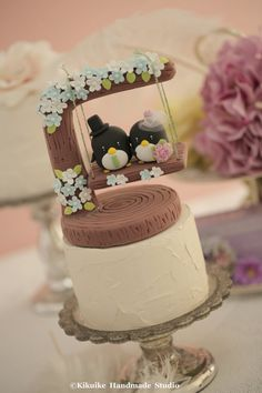 penguin with swing Wedding Cake Topper K426 by kikuike on Etsy