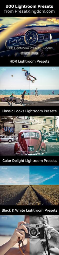 200 professional Lightroom presets for awesome effects with your photos