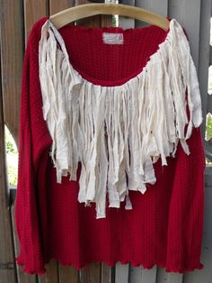 Holiday Glamour/Red Upcycled Sweater/Ecru Fringe/Size by SheerFab