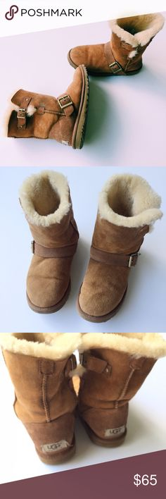 Ugg boots Dylan style in chestnut size 6 women Sizing: True to size.   - Round toe - Genuine sheepskin construction - Buckle strap detail - Exposed seam detail - Pull-on Materials Genuine sheepskin (origin: Australia, China, Italy, New Zealand, Spain or USA) upper, manmade sole.      Ugg boots in Dylan style super cute and trendy these are in really good condition, no immediate stains. UGG Shoes Winter & Rain Boots