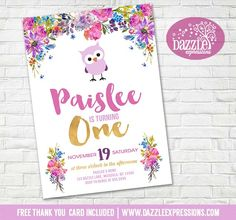 Printable Floral and Gold Owl Birthday Invitation | Girls 1st Birthday Party | Cupcake Toppers | Favor Tag | Food Labels | Banner | Matching Party Package Decor Available!