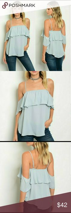 Dusty Blue Ruffle Chiffon Top 100% Polyester Sip N' Sparkle Tops Blouses