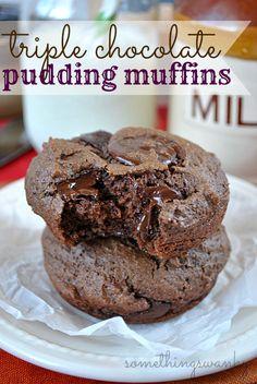 Triple Chocolate Pudding Muffins