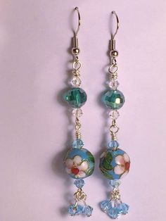 Earrings Cloisonne' and Crystal Dangles by DonnaHarrellDesigns