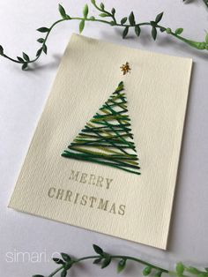 Xmas card with paper embroidery - Handmade market + minne [minne] Christmas Card Crafts, Homemade Christmas Cards, Christmas Mood, Noel Christmas, Holiday Crafts, Christmas Decorations, Christmas Ornaments, Mery Crismas, Happy Birthday Gifts
