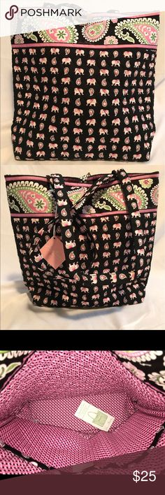 Vera Bradley Pink Elephants Tote NWT The Tote has two long straps and three interior slip-in pockets. There are no exterior pockets. It has a tortoise toggle closure. It is not the outlet version with the nylon lining. It has the fabric lining as pictured. Vera Bradley Bags Totes