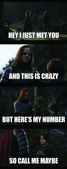 Haha! Thinking of Lauren and Vanessa! And missing game of thrones night!