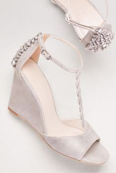 Braided T-Strap Wedges with Crystals - Davids Bridal