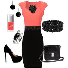 Black & Coral, created by firefly7522 on Polyvore- would be gorg for a interview or a day at the office!
