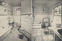 I like the floor on the right… cc Historical Bathroom Photos « 1912 Bungalow Ich mag den Boden auf der rechten Seite … cc Historical Bathroom Photos Bungalow 1920s Bathroom, Bathroom Photos, Vintage Bathrooms, Dream Bathrooms, Bathroom Ideas, Craftsman Bathroom, Bungalow Bathroom, Arts And Crafts House, Old Farm Houses
