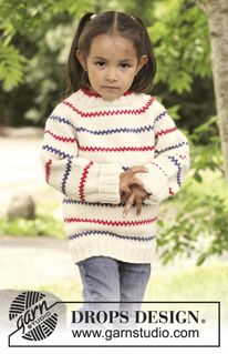 """Tommy - Knitted DROPS jumper with raglan, worked top down in """"Nepal"""". Size 3 to 12 years. - Free pattern by DROPS Design Baby Knitting Patterns, Knitting For Kids, Free Knitting, Knitting Projects, Crochet Patterns, Drops Design, Girls Sweaters, Baby Sweaters, Top Down"""