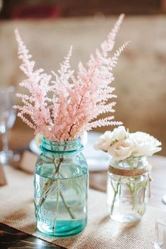 "Table Decor - Vintage blue mason jars, burlap runners and the Flowers - Astilbe simplicifolia or 'Pink Lightning'. Love this ""Pink Lightning"" never heard of it i dont know if that's the right name for it but would love to find out. its beautiful. Photo Fleur Rose, Trendy Wedding, Wedding Day, Wedding Reception, Wedding Simple, Reception Ideas, Spring Wedding, Elegant Wedding, Wedding Affordable"