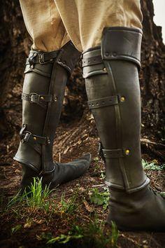 Leather Anatomical Greaves Leg Armor by IronWoodsShop on Etsy