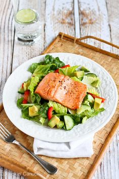 Salmon & Avocado Salad Recipe with Miso Lime Dressing...Cooking salmon was never so easy or so delicious! | cookincanuck.com #healthy