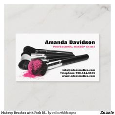 Makeup Brushes with Pink Blush Powder Business Card Lipstick Smudge, Makeup Artist Business Cards, Makeup Brushes, Smudging, Keep It Cleaner, Paper Texture, Blush Pink, Powder, Things To Come