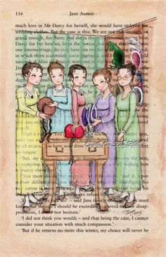Jane Austen Pride and Prejudice - The Bennett Sisters Go Bonnet Shopping - Lizzie, Jane, Kitty, Lydia and Mary