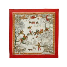 HERMES  L'Hiver (Winter) Silk Scarf | From a collection of rare vintage scarves at http://www.1stdibs.com/fashion/accessories/scarves/