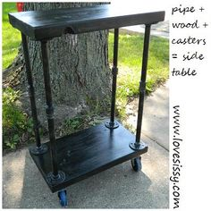 plumbing pipe wood rolling side tables, diy, painted furniture, repurposing upcycling, woodworking projects