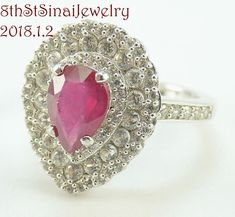 Beautiful Pear Shape Sterling Silver 925 Ruby Re & Clear CZ Ring Size 7 #MLD #SolitairewithAccents