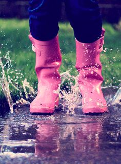Love pink boots for splashing in puddles.  All little girls need to do this!