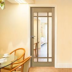 Internal Doors with Glass with toughened safety glass as standard. Including half glazed internal doors, frosted, glass panel doors in White, Oak. Oak Doors With Glass, Wooden Glass Door, Glass Panel Door, Internal Glazed Doors, Safe Glass, Clear Glass, Flur Design, Hallway Designs, White Doors