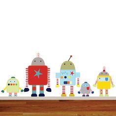 Nursery Wall Decal Robots Boys Nursery Decal Set by wallartdesign on Etsy https://www.etsy.com/listing/199803563/nursery-wall-decal-robots-boys-nursery