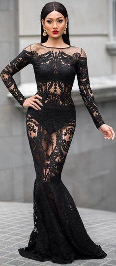 #Street #Fashion | Black Lace Gown | Micah Gianneli