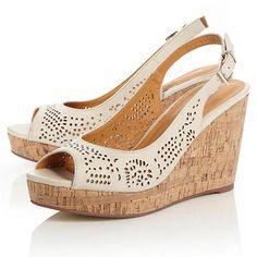 Roberto Vianni Cream plain synthetic 'gilberta' laser cut slingback wedge sandals