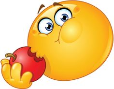 Illustration about Design of Emoticon eating an apple. Illustration of chat, hand, face - 27197216