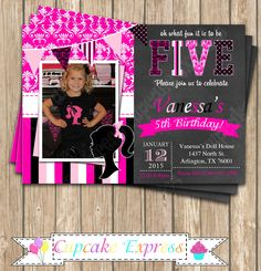 DIY Barbie Inspired  Photo Birthday Party  PRINTABLE  chalkboard Invitation 5x7 Pink black Photo by CupcakeExpress on Etsy https://www.etsy.com/listing/219362739/diy-barbie-inspired-photo-birthday-party
