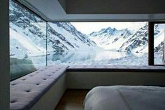 Completed in 2008 in Los Andes, Chile. Images by Erieta Attali. Chalet is located in the Andes Mountains at 2900 meters from the Portillo Hotel and a few miles from Mount Aconcagua. Interior Architecture, Interior And Exterior, Interior Design, Room Interior, Interior Photo, Window View, Window Seats, Window Wall, Contemporary Decor