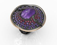 925 Sterling Silver Ring Pink 18k. Gold Amatist, Black Spinels and CZ Price : $865.34 #ring #purple #bohemmejewelry