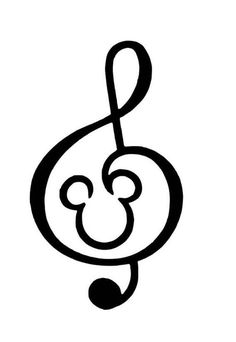 This listing is for a Disney Mickey Music Treble Clef Iron-On (Heat Transfer Vinyl) decal in either 8 or 10 for your shirts, bags, pillows, or any fabric project. The options for inches are the longest side o Magic Bands, Treble Clef Tattoo, Treble Clef Art, Mickey Mouse Imagenes, Mickey Head, Disney Mickey Mouse, Walt Disney, Phone Stickers, Disney Music