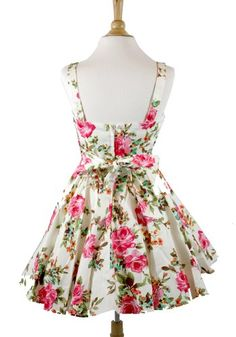 #Ixia Rose Floral Fold Over Pinup Dress-Ivory-Small -  Buy New: $46.00