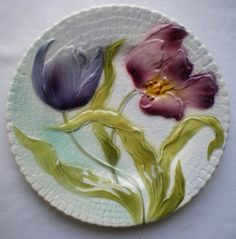 RARE-French-plate-Majolica Style, Barbotine-signed-Saint-Clement-1900-1920-Purple-Tulips