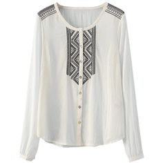 Embroidered Yoke And Shoulders Tunic Blouse (£3.47) ❤ liked on Polyvore featuring tops, blouses, embroidered blouse, embroidered top, yoke blouse, embroidery blouse and yoke top
