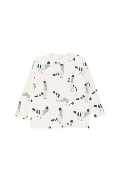 'Pigeons' Print Long Sleeve Relaxed Shirt in Light Grey Graphic Long Sleeve Shirts, Long Sleeve Tees, Pigeon, Baby Shop, Grey, Cotton, Shopping, Fashion For Girls, Fall Winter